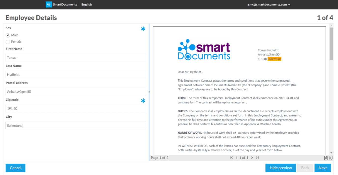Document creation with smartdocuments software