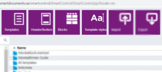 SmartControl template management Style and building block
